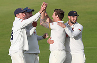 Essex players congratulate Matt Coles on taking the wicket of Ben  Slater during Nottinghamshire CCC vs Essex CCC, Specsavers County Championship Division 1 Cricket at Trent Bridge on 11th September 2018