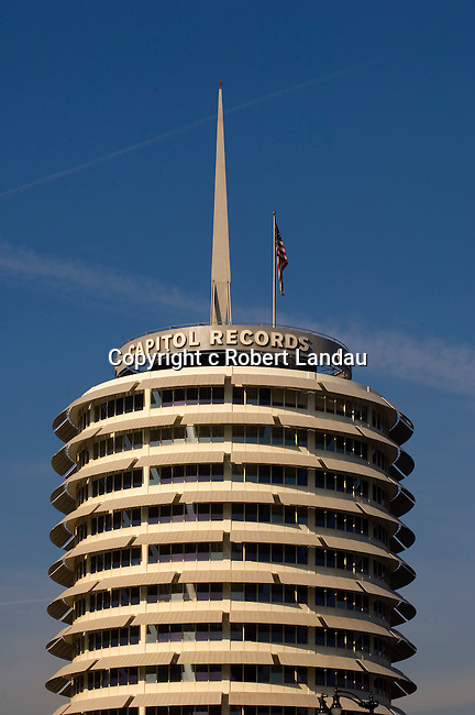 The Capitol Records building in Hollywood, CA