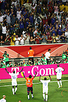 01 July 2006: French players salute their fans in the stands of the Commerzbank Arena after the game. France defeated Brazil 1-0 at Commerzbank Arena in Frankfurt, Germany in match 60, a Quarterfinal game of the 2006 FIFA World Cup.