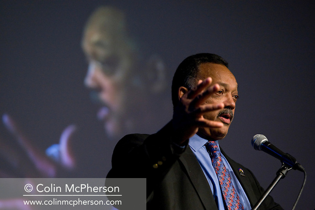 American civil rights campaigner Reverend Jesse Jackson, pictured at Liverpool University in north-west England delivering a lecture to launch Equanonomics UK, a campaign group which will focus on the relationship between economic justice and race. This was one of a number of public engagements by Reverend Jackson during a week-long visit to Engand.