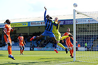 Gillingham's Brandon Hanlan heads the ball just over the Shrewsbury goal during Gillingham vs Shrewsbury Town, Sky Bet EFL League 1 Football at The Medway Priestfield Stadium on 13th April 2019