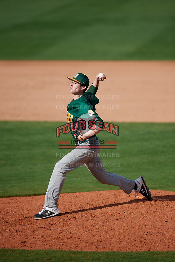 Siena Saints relief pitcher Mike McCully (18) delivers a pitch during a game against the UCF Knights on February 17, 2019 at John Euliano Park in Orlando, Florida.  UCF defeated Siena 7-1.  (Mike Janes/Four Seam Images)
