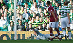 Artur Boruc turns to watch the ball hit the back of his net as Suso Santana scores for Hearts
