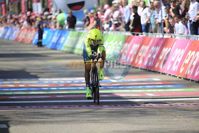Pawel Poljanski (POL) Tinkoff crosses the finish line of Stage 1 of the 2016 Giro d'Italia, an individual time trial of 9.8km around Apeldoorn, The Nethrerlands. 6th May 2016.<br /> Picture: Eoin Clarke | Newsfile<br /> <br /> <br /> All photos usage must carry mandatory copyright credit (&copy; Newsfile | Eoin Clarke)