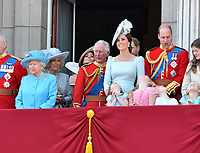 HM The Queen Queen Elizabeth II, Camilla Duchess of Cornwall, Prince Charles, Meghan Duchess of Sussex, Prince Harry, Catherine Duchess of Cambridge, Prince William, Princess Charlotte, Prince George on the balcony at Buckingham Palace<br /> Celebration marking The Queen's official birthday, Trooping The Colour, The Queen's official birthday, Buckingham Palace, London, England UK on June 09, 2018.<br /> CAP/JOR<br /> &copy;JOR/Capital Pictures