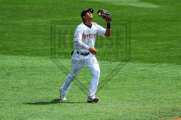 APPLETON - August 2014: Angel Ortega (10) of the Wisconsin Timber Rattlers during a game against the Beloit Snappers on August 26th, 2014 at Fox Cities Stadium in Appleton, Wisconsin.  (Photo Credit: Brad Krause)