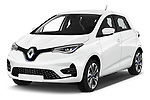 2020 Renault ZOE Edition-One 5 Door Hatchback Angular Front automotive stock photos of front three quarter view
