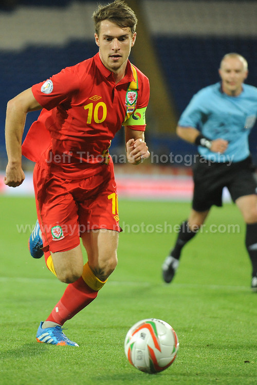 Aaron Ramsey of Wales during the Wales v Serbia FIFA World Cup 2014 Qualifier match at Cardiff City Stadium, Cardiff, Wales -Tuesday 10th Sept 2014. All images are the copyright of Jeff Thomas Photography-07837 386244-www.jaypics.photoshelter.com