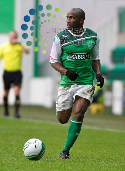 Hibernian v Kilmarnock, .William Hill Scottish Cup Fifth Round Tie..Pa Kujabi makes his Hibs debut during the William Hill Scottish Cup Fifth Round Tie between Hibernian v Kilmarnock at Easter Road Stadium on Saturday 4th February 2012...Picture: Alan Rennie/Universal News and Sport (Scotland).