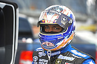 Apr. 1, 2012; Las Vegas, NV, USA: NHRA top fuel dragster driver Antron Brown during the Summitracing.com Nationals at The Strip in Las Vegas. Mandatory Credit: Mark J. Rebilas-