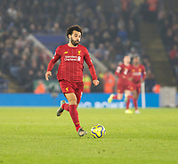 26th December 2019; King Power Stadium, Leicester, Midlands, England; English Premier League Football, Leicester City versus Liverpool; Mohamed Salah of Liverpool running forward with the ball at his feet - Strictly Editorial Use Only. No use with unauthorized audio, video, data, fixture lists, club/league logos or 'live' services. Online in-match use limited to 120 images, no video emulation. No use in betting, games or single club/league/player publications