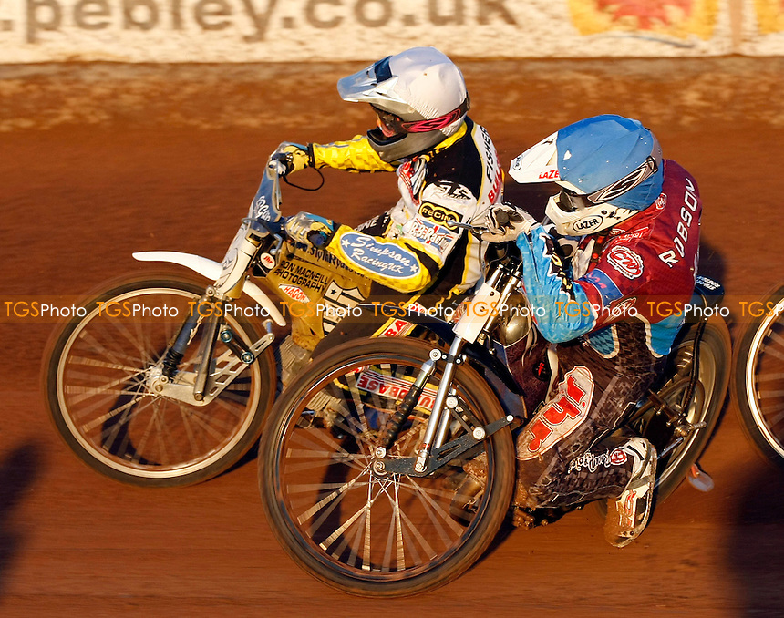 R.FISHER (WHITE), S.ROBSON (BLUE) - 2011 Elite League Riders Championship at the Abbey Stadium, Swindon - 15/10/11 - MANDATORY CREDIT: Rafal Wlosek/TGSPHOTO - Self billing applies where appropriate - 0845 094 6026 - contact@tgsphoto.co.uk - NO UNPAID USE.
