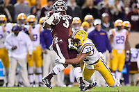 Texas A&M running back Trey Williams (3) is tackled by LSU safety Jamal Adams (33) during an NCAA football game, Thursday, November 27, 2014 in College Station, Tex. (Mo Khursheed/TFV Media via AP Images)