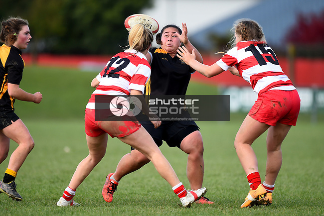 NELSON, NEW ZEALAND - June 6: Senior Women Tens Rugby. Featuring Riwaka, WOB, Marist, Moutere and Motueka. Sports Park, Motueka on June 6, 2015 in Nelson, New Zealand. (Photo by: Chris Symes Shuttersport Limited)