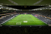 30th July 2020; Bankwest Stadium, Parramatta, New South Wales, Australia; A League Football, Adelaide United versus Perth Glory; the players warm up in an empty stadium at Bankwest due to the covid-19 pandemic