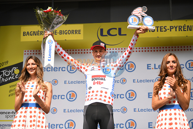 Tim Wellens (BEL) Lotto-Soudal retains the mountains Polka Dot Jersey at the end of Stage 12 of the 2019 Tour de France running 209.5km from Toulouse to Bagneres-de-Bigorre, France. 18th July 2019.<br /> Picture: ASO/Pauline Ballet | Cyclefile<br /> All photos usage must carry mandatory copyright credit (© Cyclefile | ASO/Pauline Ballet)