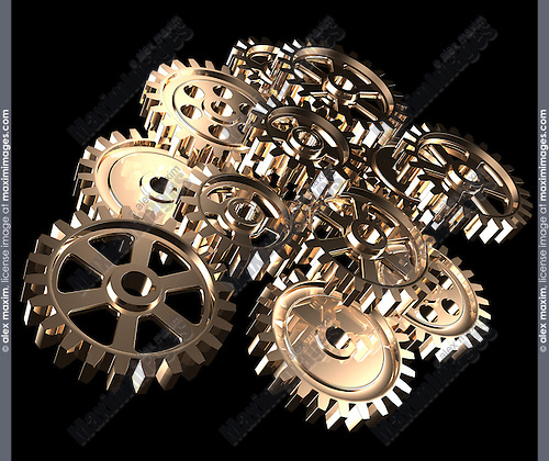 Stock 3D illustration of a Set of gears Abstract complicated mechanical device Shiny metal gears Isolated on black background