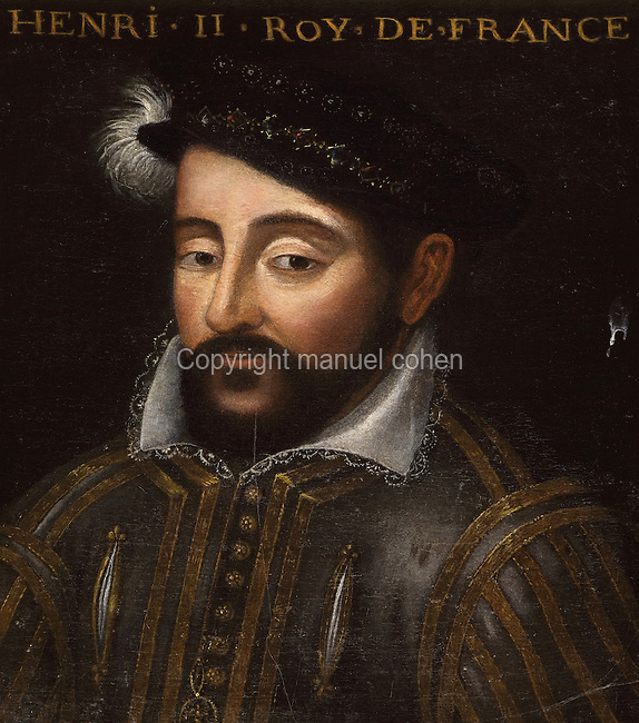 Portrait of Henri II, King of France, 1515-59, in the Galerie des Illustres or Gallery of Portraits, early 17th century, in the Chateau de Beauregard, a Renaissance chateau in the Loire Valley, built c. 1545 under Jean du Thiers and further developed after 1617 by Paul Ardier, Comptroller of Wars and Treasurer, in Cellettes, Loir-et-Cher, Centre, France. The Gallery of Portraits is a 26m long room with lapis lazuli ceiling, Delftware tiled floor and decorated with 327 portraits of important European figures living 1328-1643, in the times of Henri III, Henri IV and Louis XIII. The chateau is listed as a historic monument. Picture by Manuel Cohen