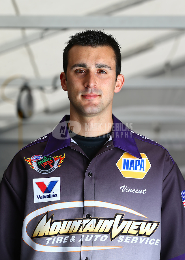 Feb 7, 2014; Pomona, CA, USA; NHRA pro stock driver Vincent Nobile poses for a portrait during qualifying for the Winternationals at Auto Club Raceway at Pomona. Mandatory Credit: Mark J. Rebilas-