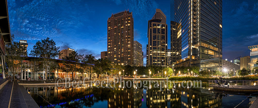 Another great photo of Discovery Green Park in downtown Houston after dark.  This area is in the heart of the city among the many high rise buildings in this modern city.  The park has a lake and restuarants, music venues and even an seasonal ice skating rink.