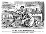 """Il Faut Souffrir Pour Etre Belle!"" The scene depicted above is not so tragic as one might suppose. It merely represents that best of husbands, Jones, helping the lovely Mrs J to divest herself of her jersey."