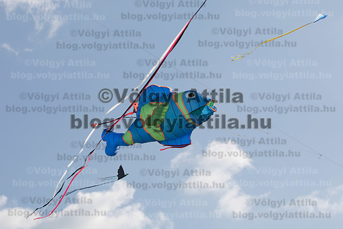 Kites fly on the sky during the Kite Festival in Zebegeny (about 70 kilometres north of capital city Budapest), Hungary on Sept. 15, 2018. ATTILA VOLGYI