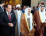 Egyptian President Abdel Fattah al-Sisi receives Saudi King Salman upon his arrival ahead of the Arab Summit in Sharm el-Sheikh, in the South Sinai governorate, south of Cairo, March 28, 2015. Arab League heads of state will hold a two-day summit to discuss a range of conflicts in the region, including Yemen and Libya, as well as the threat posed by Islamic State militants. Egyptian Presidency