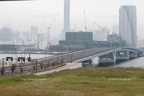 A general view of a bridge located close to the new Tokyo Metropolitan Central Wholesale Market in Toyosu on October 11, 2018, Tokyo, Japan. The new fish market replaces the famous Tsukiji Fish Market which closed for the last time on Saturday 6th October. The move to Toyosu was delayed for almost 2 years because of fears over toxins found in water below the new market. (Photo by Rodrigo Reyes Marin/AFLO)