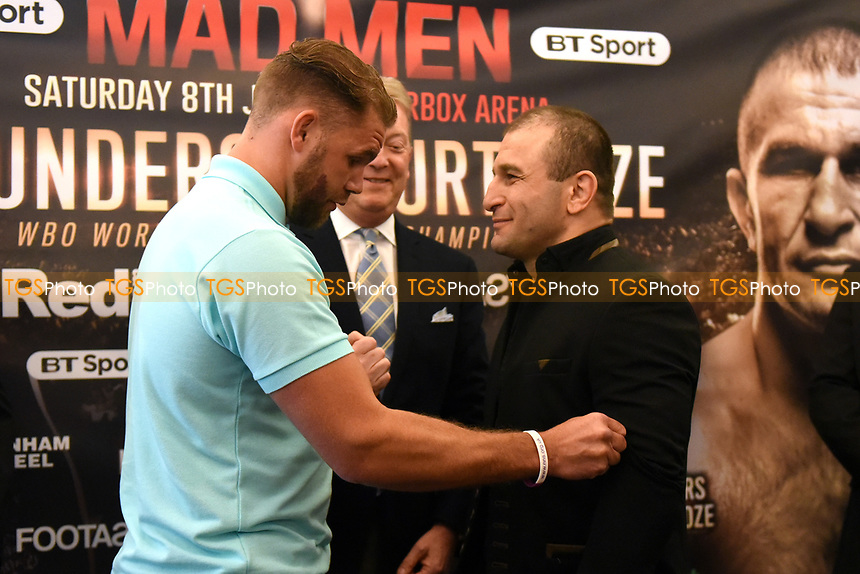 Billy Joe Saunders (L) and Avtandil Khurtsidze during a Press Conference at the Grosvenor House Hotel on 15th May 2017