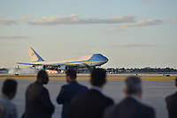 www.acepixs.com<br /> <br /> February 10 2017, West Palm Beach, FL<br /> <br /> President Donald Trump and his wife Melania Trump arrive on Air Force One at the Palm Beach International Airport as they prepare to spend part of the weekend together at Mar-a-Lago resort on February 10, 2017 in West Palm Beach, Florida.<br /> <br /> Shinzo Abe and his wife Akie Abe<br /> <br /> By Line: Solar/ACE Pictures<br /> <br /> ACE Pictures Inc<br /> Tel: 6467670430<br /> Email: info@acepixs.com<br /> www.acepixs.com