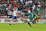 28.08.2019, Stadion Lohmühle, Luebeck, GER,  VFB Lübeck/Luebeck vs VfL Wolfsburg IIi<br /> <br /> DFB REGULATIONS PROHIBIT ANY USE OF PHOTOGRAPHS AS IMAGE SEQUENCES AND/OR QUASI-VIDEO.<br /> <br /> im Bild / picture shows<br /> Tor zum 1:0 . Torschütze/Torschuetze Ahmet Arslan  (VfB Luebeck) trifft zum 1:0 ins Tor von Torwart Phillip Menzel VfL Wolfsburg II nicht im Bild<br /> <br /> Foto © nordphoto / Tauchnitz