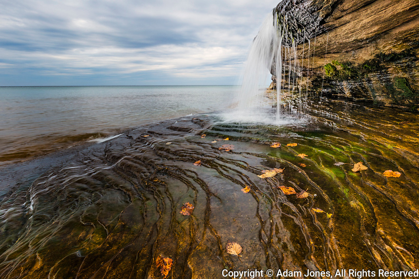 Waterfall on Miners Beach, Lake Superior, Pictured Rocks National Lakeshore, Upper Peninsula, Michigan.