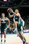Basketball Real Madrid´s Bourousis (B) and Zalgiris Kaunas´s Lekavicius during Euroleague basketball match in Madrid, Spain. October 17, 2014. (ALTERPHOTOS/Victor Blanco)