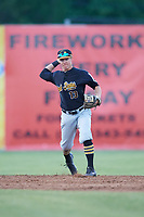 West Virginia Black Bears shortstop Andrew Walker (13) throws to first base during a game against the Batavia Muckdogs on June 26, 2017 at Dwyer Stadium in Batavia, New York.  Batavia defeated West Virginia 1-0 in ten innings.  (Mike Janes/Four Seam Images)