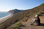 Hiker in Point Mugu State Park, north of Malibu, California, USA