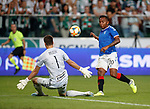 22.08.2019 Legia Warsaw v Rangers: Alfredo Morelos has his shot saved by Radoslaw Majecki