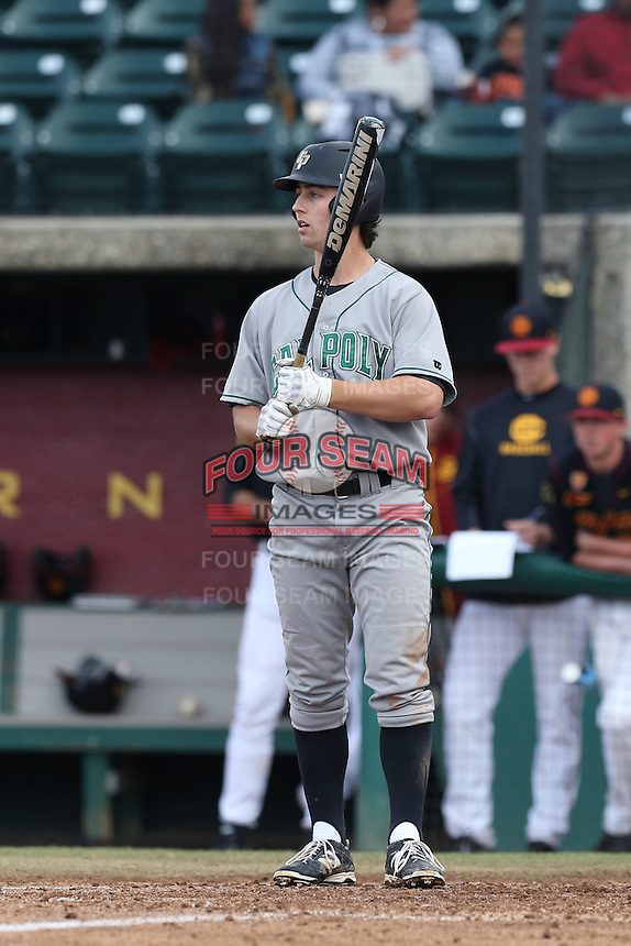 Jordan Ellis #26 of the Cal Poly Mustangs bats against the USC Trojans at Dedeaux Field on March 2, 2014 in Los Angeles, California. Cal Poly defeated USC, 5-1. (Larry Goren/Four Seam Images)