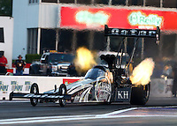 Apr 25, 2014; Baytown, TX, USA; NHRA top fuel dragster driver Shawn Langdon during qualifying for the Spring Nationals at Royal Purple Raceway. Mandatory Credit: Mark J. Rebilas-USA TODAY Sports