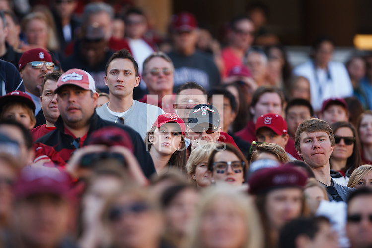 STANFORD,CA-- November 23, 2013: Fans during the Stanford vs Cal game Saturday afternoon at Stanford Stadium.<br /> <br /> Stanford won 63-13.