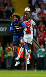 Marouane Fellaini of Manchester United in a action with Davinson Sanchez of Ajax during the UEFA Europa League Final match at the Friends Arena, Stockholm. Picture date: May 24th, 2017.Picture credit should read: Matt McNulty/Sportimage