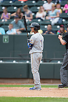 Carlos Penalver (1) of the Myrtle Beach Pelicans steps up to the plate against the Winston-Salem Dash at BB&T Ballpark on April 18, 2015 in Winston-Salem, North Carolina.  The Pelicans defeated the Dash 4-1 in game one of a double-header.  (Brian Westerholt/Four Seam Images)