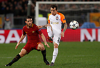 Shakhtar Donetsk's Bernard, right, is challenged by Roma s Alessandro Florenzi during the Uefa Champions League round of 16 second leg soccer match between Roma and Shakhtar Donetsk at Rome's Olympic stadium, March 13, 2018. Roma won. 1-0 to join the quarter finals.<br /> UPDATE IMAGES PRESS/Riccardo De Luca