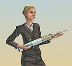 Illustration of businesswoman with syringe filled with coins depicting financial funding