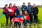 Kilflynn Coursing: Moss Leen presenting the trophy to Maeve O'Brien wife of Brian O'Brien, Listowel co-owner of Nickies Betty winner of the Barry Lynch Kennels All Age Bitch Stake at Kilflynn coursing on Sunday last. Front : Aisling McCarthy, John McCarthy, co-owner & Emily McCarthy. Back: Marie McCarthy, Grainne Herbert, Brian & Maeve O'Brien, Moss Leen, DJ Histon & Mike Galvin.