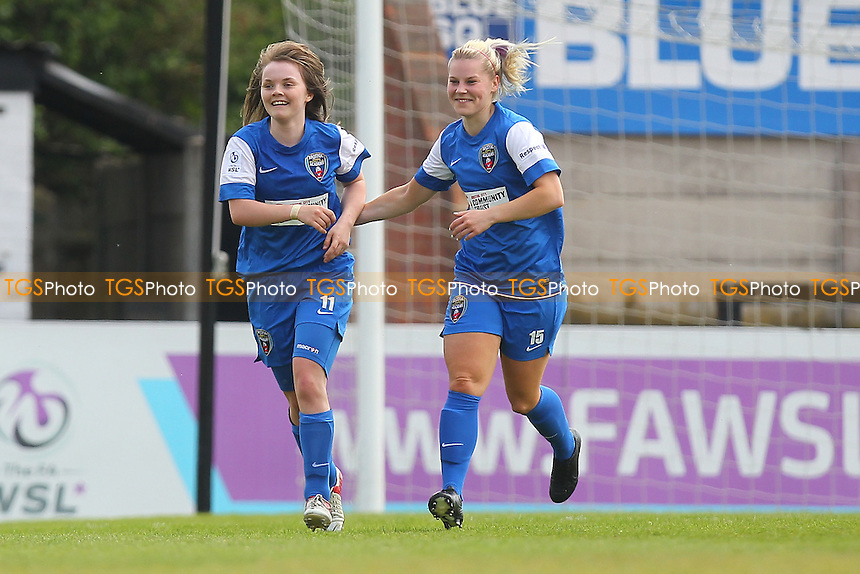 Ellen Curson (L) celebrates scoring the second Bristol goal with Nicola Watts - Arsenal Ladies vs Bristol Academy - FA Womens Super League Continental Cup Football at Boreham Wood FC - 19/05/13 - MANDATORY CREDIT: Gavin Ellis/TGSPHOTO - Self billing applies where appropriate - 0845 094 6026 - contact@tgsphoto.co.uk - NO UNPAID USE.