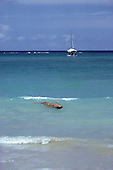 Itaparica Island, Bahia, Brazil. Blue sky, green sea, woman swimming backstroke with a sailing boat behind.
