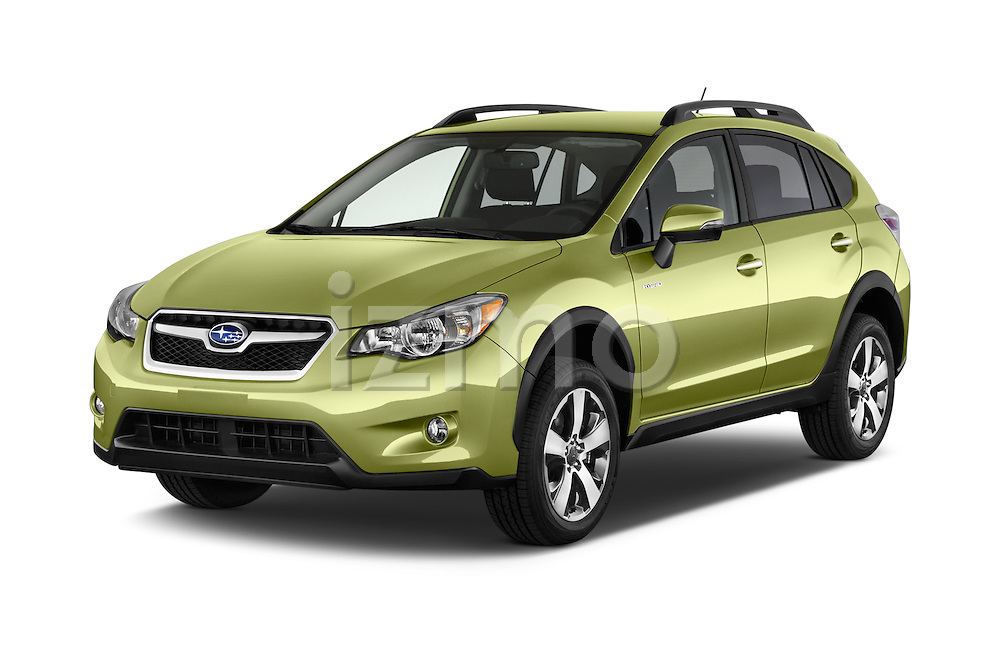 2015 Subaru XV Crosstrek Hybrid 5 Door SUV Angular Front stock photos of front three quarter view
