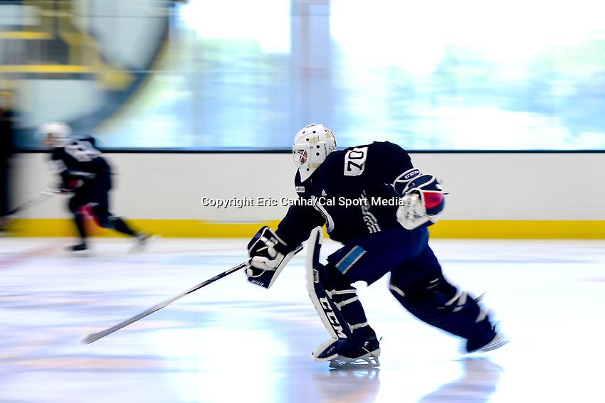 June 26, 2018: Boston Bruins goalie Jeremy Swayman (70) skates during the Boston Bruins development camp held at Warrior Ice Arena in Brighton Mass. Eric Canha/CSM