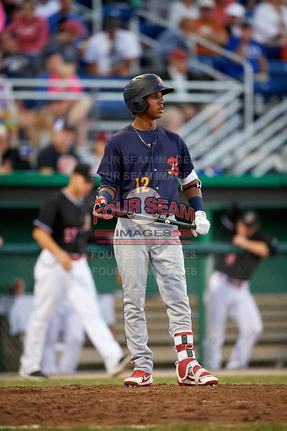 State College Spikes center fielder Wadye Ynfante (12) at bat during a game against the Batavia Muckdogs on July 7, 2018 at Dwyer Stadium in Batavia, New York.  State College defeated Batavia 7-4.  (Mike Janes/Four Seam Images)