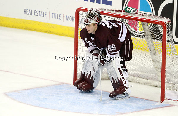 Colgate goalie Eric Mihalik. (Photo by Michelle Bishop)